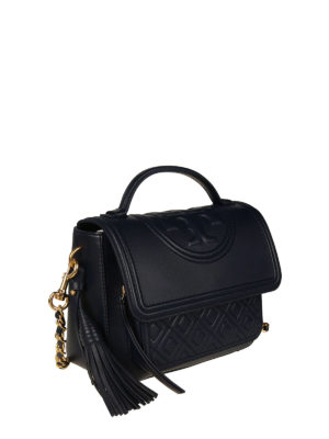 Tory Burch: bowling bags online - Fleming navy blue leather satchel