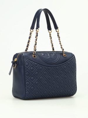 Tory Burch: bowling bags online - Fleming quilted leather bowling bag