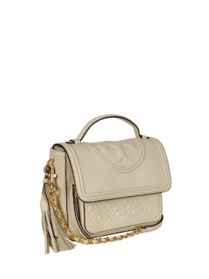 Tory Burch: bowling bags online - Fleming white leather satchel