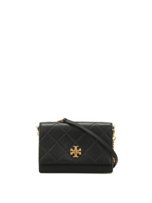 Tory Burch: clutches - Georgia black leather clutch