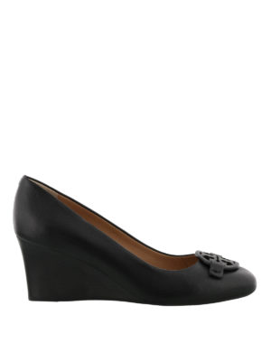 Tory Burch: court shoes - Miller black leather wedge pumps