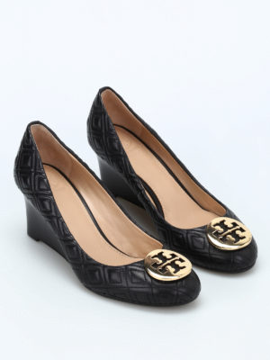 Tory Burch: court shoes online - Hope quilted leather wedges