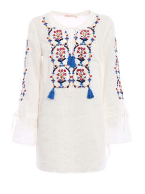 Tory Burch: cover-ups - Wildflower linen tunic