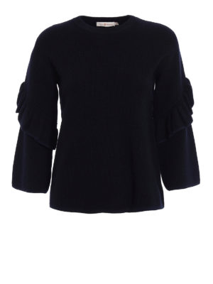 Tory Burch: crew necks - Ashley ruched sleeves wool sweater