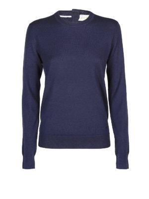 TORY BURCH: maglia collo rotondo - Girocollo Iberia in cashmere blu