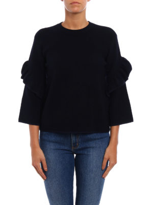 Tory Burch: crew necks online - Ashley ruched sleeves wool sweater