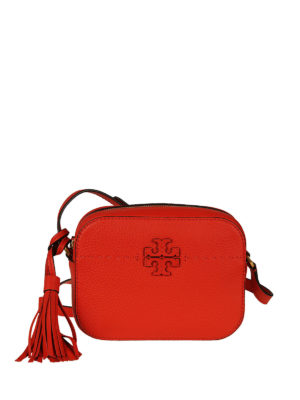 Tory Burch: cross body bags - McGraw red leather camera bag