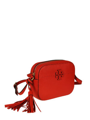 Tory Burch: cross body bags online - McGraw red leather camera bag