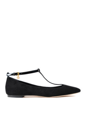Tory Burch: flat shoes - Ashton patent T-strap flat shoes