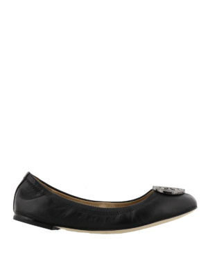Tory Burch: flat shoes - Liana black leather flat shoes