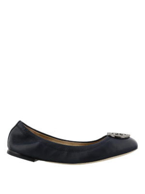 Tory Burch: flat shoes - Liana navy leather flat shoes