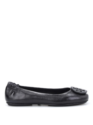 Tory Burch: flat shoes - Minnie logo leather ballerinas