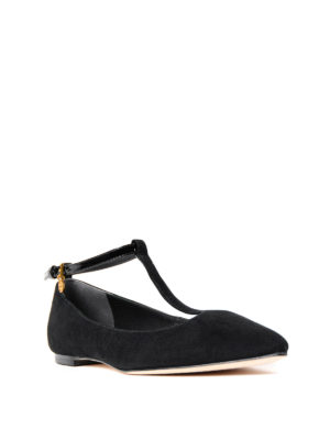 Tory Burch: flat shoes online - Ashton patent T-strap flat shoes