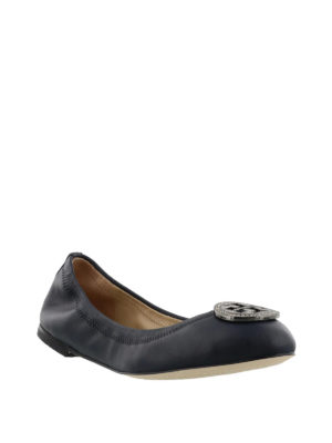 Tory Burch: flat shoes online - Liana navy leather flat shoes