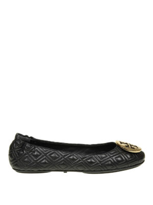 TORY BURCH: flat shoes - Quilted Minnie leather ballerinas