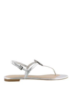 Tory Burch: flip flops - Liana silver thong sandals