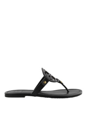 Tory Burch: flip flops - Miller black leather thong sandals