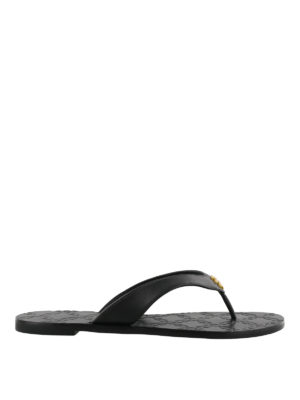 Tory Burch: flip flops - Monroe black leather thong sandals
