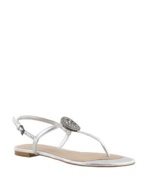 Tory Burch: flip flops online - Liana silver thong sandals