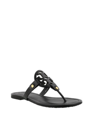 Tory Burch: flip flops online - Miller black leather thong sandals