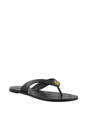 Tory Burch: flip flops online - Monroe black leather thong sandals