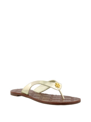 Tory Burch: flip flops online - Monroe golden thong sandals