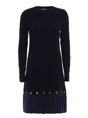 Tory Burch: knee length dresses - Shiloh pleated bottom knit dress