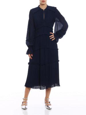 Tory Burch: maxi dresses online - Stella blue pleated chiffon dress