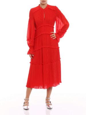 Tory Burch: maxi dresses online - Stella red pleated chiffon dress
