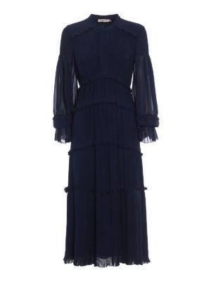 Tory Burch: maxi dresses - Stella blue pleated chiffon dress