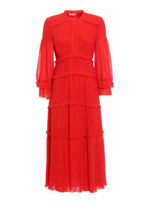 Tory Burch: maxi dresses - Stella red pleated chiffon dress