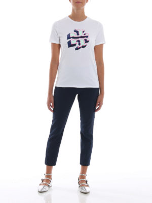 TORY BURCH: t-shirt online - T-shirt con stampa logo 3D in velluto