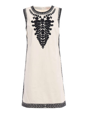 Tory Burch: short dresses - Embroidered cotton canvas dress