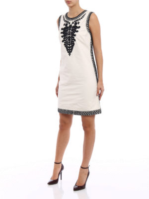 Tory Burch: short dresses online - Embroidered cotton canvas dress