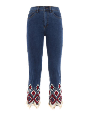 Tory Burch: straight leg jeans - Mia embroidered cropped jeans