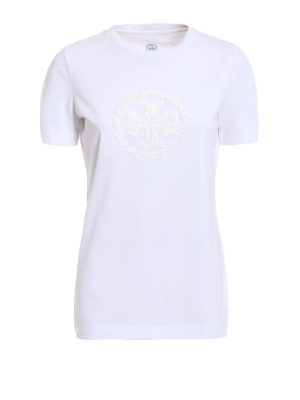 Tory Burch: t-shirts - Demi sequined logo T-shirt