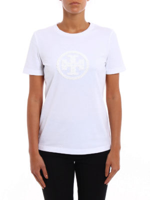 Tory Burch: t-shirts online - Demi sequined logo T-shirt