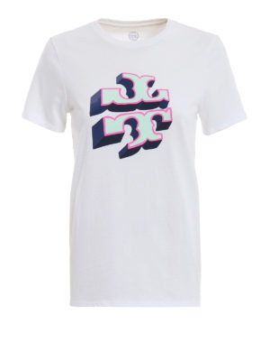 TORY BURCH: t-shirt - T-shirt con stampa logo 3D in velluto