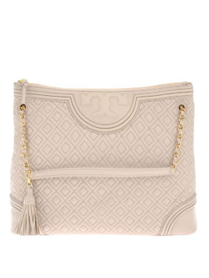 Tory Burch: totes bags - Fleming quilted leather zipped tote