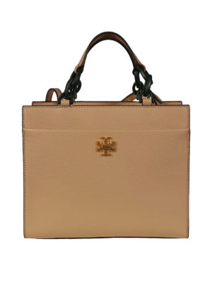Tory Burch: totes bags - Kira light sand leather small tote