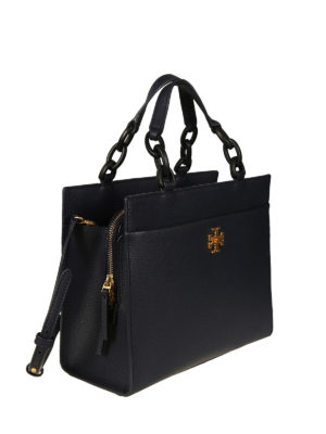 Tory Burch: totes bags online - Kira royal navy leather small tote