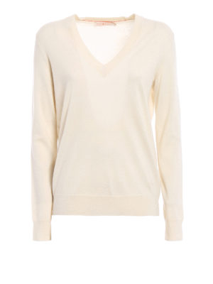 Tory Burch: v necks - Marilyn ivory cashmere sweater
