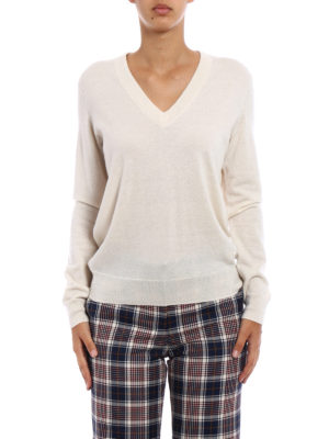 Tory Burch: v necks online - Marilyn ivory cashmere sweater