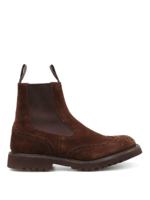 Tricker's: boots - Henry Commando brogued suede boots