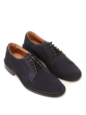 Tricker's: classic shoes online - Robert blue suede Derby shoes