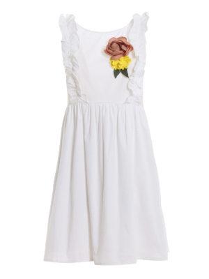 TWINSET: short dresses - Flower pin ruffle poplin dress
