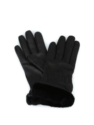 UGG: guanti - Guanti in pelle con logo ricamato