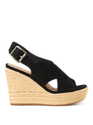Ugg: sandals - Harlow black suede wedge sandals