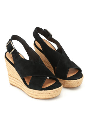 Ugg: sandals online - Harlow black suede wedge sandals