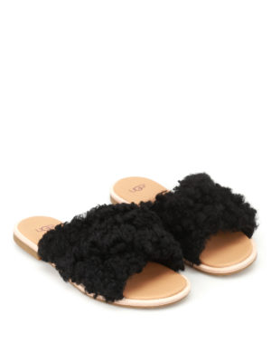Ugg: sandals online - Joni curly sheepskin slide sandals